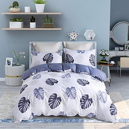 UniTendo 3 Pieces Set 100% Cotton Gray and White Duvet Cover and Pillowcases Reversible Duvet Cover Set Twin, Banana Leaf. ()