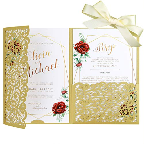 "PONATIA 20 Pieces 5.1 x 7.2 "" Laser Cut 3 Folds Wedding Invitation Cards Set with Gold Ribbons Ivory Pearl Paper Envelopes For Wedding Bridal Shower Engagement Birthday Graduation Party (Dark Gold)"