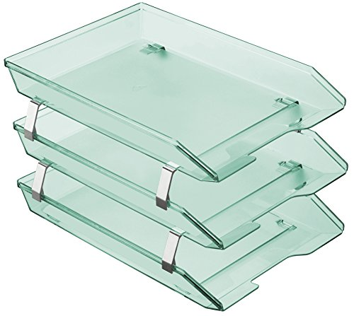 Acrimet Facility 3 Tier Letter Tray Frontal Plastic Desktop File Organizer (Clear Green - Tray Glass Green