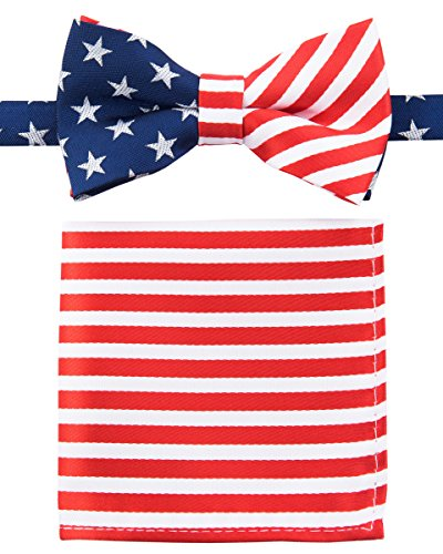 Canacana US Flag Old Glory Woven Microfiber Pre-tied Boy's Bow Tie with Stripes Pocket Square Gift Box Set - Blue, Red, White - 24 months - 4 years, Christmas gift