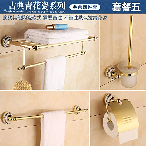 - Hlluya Bathroom Accessory Set Blue-Tiled Bath Towel Rack Towel bar Gold Stainless Steel Antique Marble Bathroom Wall Set Item, Package 5 (4-Piece)
