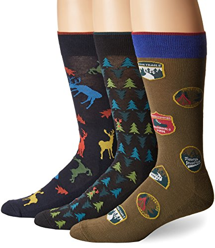 Hue Men Dress - HUE Men's Assorted Crew Socks (3-Pack), Navy Big Buck, Sock Size 10-12/Shoe Size 6-13