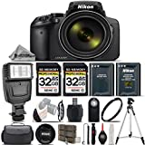 Nikon COOLPIX P900 Digital Camera 83x Optical Zoom, Built-In Wi-Fi, NFC, and GPS + Digital Camera Flash +Backup Battery + 2 Of 32GB Class 10 Memory Card + 67mm UV Protection Filter