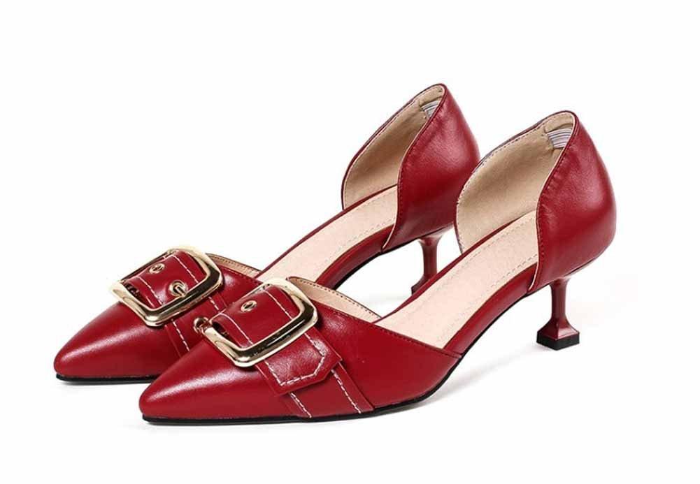 Frauen Mode Spitzen Sandalen 2018 Fruuml;hling Sommer Neue DOrsay Metall Schnalle Gericht Schuhe  39|Rot