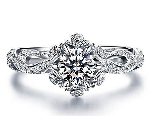 Gowe Buying Ice and Fire Série véritable 0,60carat Diamant Bague de fiançailles Couleur D-e Pureté SI Or blanc 18K
