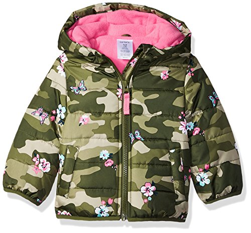 (Carter's Girls' Toddler Fleece Lined Puffer Jacket Coat, camo, 4T)