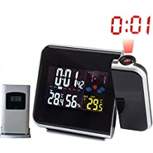 Digital Projection Alarm Clock Projector Weather Station with Thermometer Indoor Humidity Hygrometer and Wireless Outdoor Temperature Transmitter / Table Desk Bedside Wake Up Snooze Clock