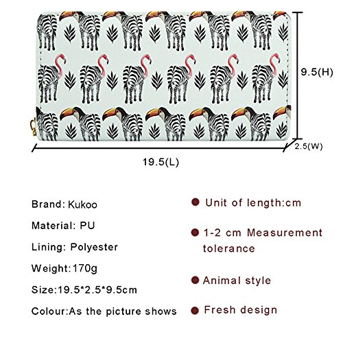 Wallet White Card Purse Holder Flamingo Clutch Leather Print Credit Long Women Zipper Kukoo 7aIvI