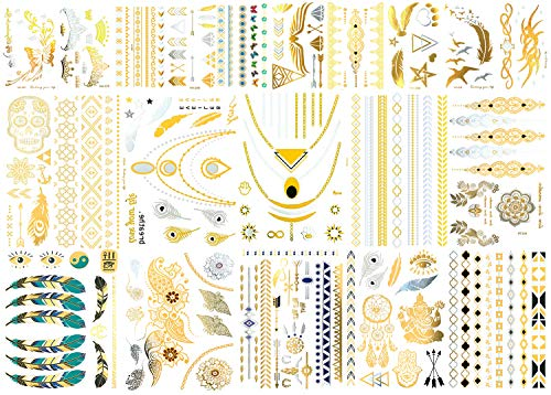 20 Sheets Premium Metallic Tattoos – 300+ Shimmer Designs in Gold, Silver, Black and Turquoise – Temporary Fake Jewelry Tattoos – Bracelets, Feathers, Wrist and Arm Bands