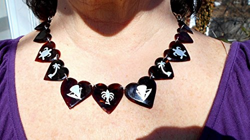 Vintage Faux Tortoise Shell Hand Carved Beveled Hearts w/ Inlaid Sterling Silver Tropical Motifs on Marked
