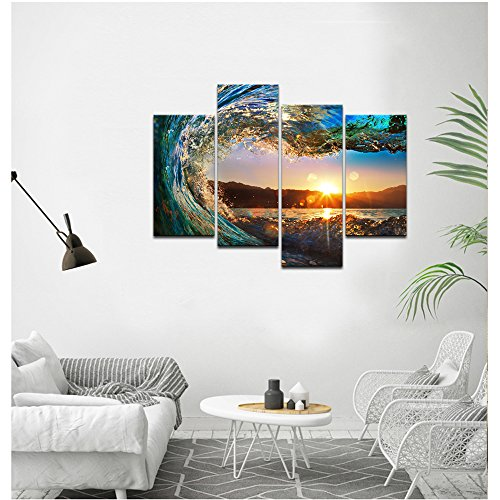 Sea Charm- 4 Panel Florida Seascape Canvas Wall Art Ocean Wave Wall Art for Home Office Inner Wall Decor Sunset on Sea Landscape Picture Print on Canvas Ready to Hang