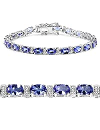 9.43 Carat Genuine Tanzanite and White Diamond 14K White Gold Bracelet