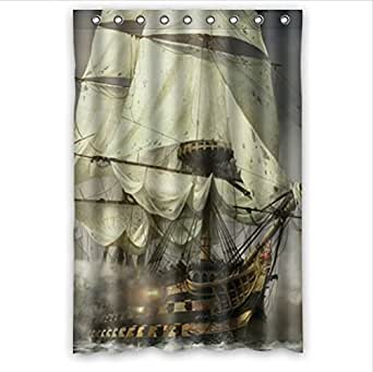 cool pirate ship waterproof bathroom shower curtain polyester fabric 48 w x72 h. Black Bedroom Furniture Sets. Home Design Ideas