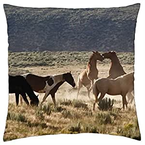 Wild Mustangs..... - Throw Pillow Cover Case (18