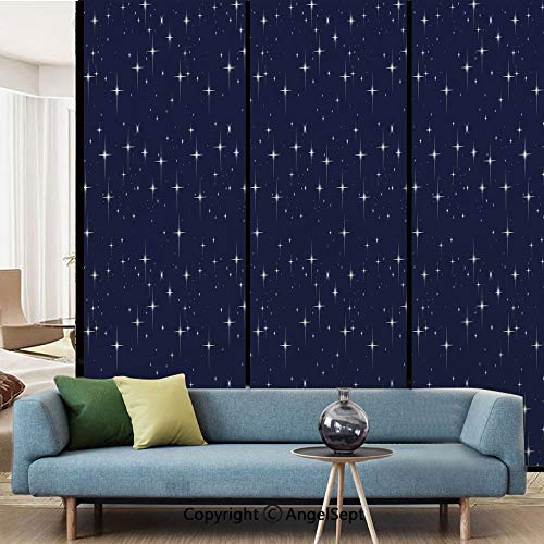 - AngelSept No Glue Static Cling Glass Sticker,Night Sky with Stars Romantic Space Themed Image Dotted Background Constellation Decorative,W15.7xL63in,for Home Office,Dark Blue White