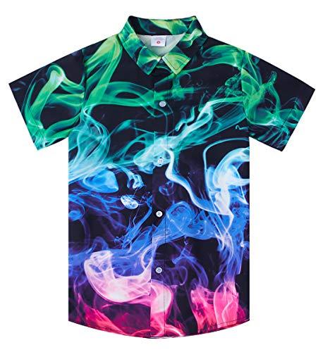 Uideazone Summer Short Sleeve Shirts for Teens Big Boys 3D Printed Colorful Smoke Button Down Beach Shirt