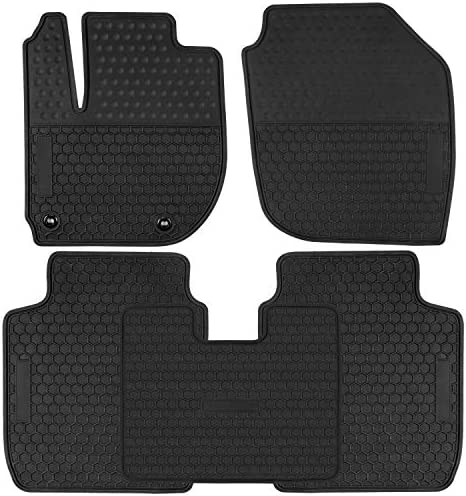 San Auto Car Floor Mats Custom Fit for Honda Fit 2015 2016 2017 2018 2019 2020 Full Black Rubber Car Floor Liners Set All Weather Protection Heavy Duty Odorless