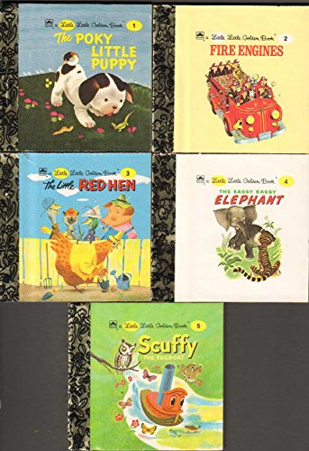 Fire Red Engine Little - Little Little Golden Books - Books 1-5: The Poky Little Puppy, Fire Engines, The Little Red Hen, The Saggy Baggy Elephant, Scuffy the Tugboat