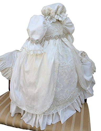 (Aorme Baby-Girls White Christening Dresses Baptism Gowns with Beading Lace)