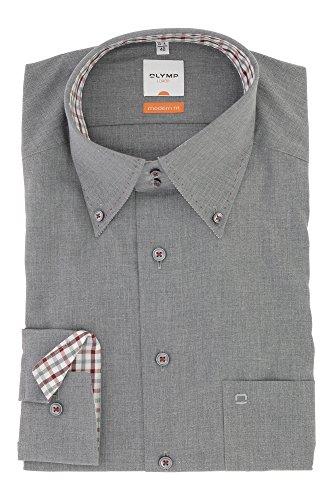 OLYMP Business & Freizeit Hemd aus der Serie Luxor Langarmhemd mit Button Down Kragen Modern Fit Schnitt Gr.40 Grau meliert