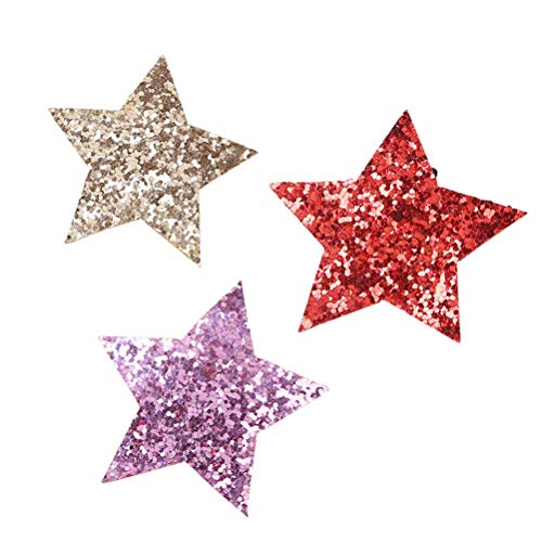 Youxuan Cute Hairclip for Girls, Sparkly Star Barrette Non-Woven Side Hair Accessory, 3 Pack