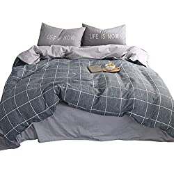 VClife Twin Checkered Plaid Bedding Sets Grey Striped Bedding Collections 3 Pieces Duvet Cover with Pillowcases, Ultra Soft, Lightweight, Hypoallergenic, Durable (Style 5, Twin)