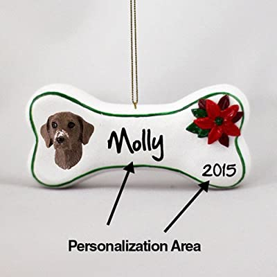 Animal-Den-German-Shorthaired-Pointer-Personalizable-Dog-Bone-Christmas-Ornament-Hand-Painted-Delightful
