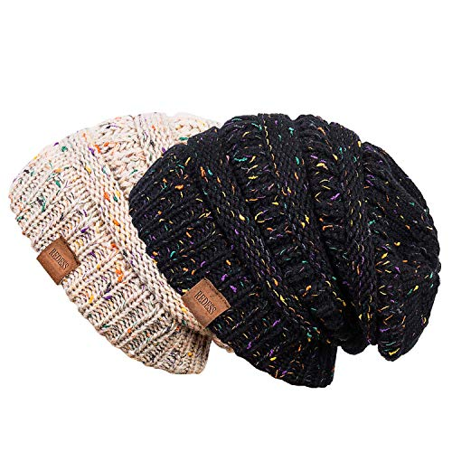 REDESS Slouchy Beanie Hat for Men and Women 2 Pack Winter Warm Chunky Soft Oversized Cable Knit Cap