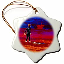 3dRose Mark Grace ABSTRACT ART - man vs nature - A young boogie boarder in a toxic shore, an off-shore oil rig looming - 3 inch Snowflake Porcelain Ornament (orn_243303_1)