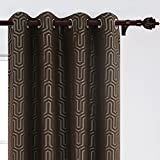 Deconovo Luxury Jacquard Room Darkening Curtain Geometric Pattern Thermal Insulated Window Drapes Grommet Top Curtains for Bedroom 52W x 84L Inch Brown and Grey 2 Panels For Sale