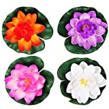 AEXGE trade; Artificial Water Lotus Foam Flower Floating Flowers Pond Decor for Garden Pool Home Aquarium Weddings Holidays,Set of 4 (Medium)