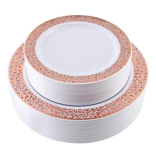 60 Pieces Rose Gold Plates, Plastic Lace Plates for Party, Premium Heavyweight Disposable Plastic Plates Includes: 30 Dinner Plates 10.25 Inch and 30 Salad/Dessert Plates 7.5 -