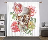 2 Panel Set Window Drapes Kitchen Curtains,Rose Tender Blossoms with Hand Drawn Style Watercolor Skull Figure Mexican Festive Gothic Decorative Multicolor,for Bedroom Living Room Dorm Kitchen Cafe