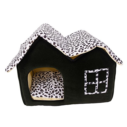 Luxury High End Double Pet House Dog Cat Little House Bed Perfect Fit Pets Coffee (Cat Plush House)