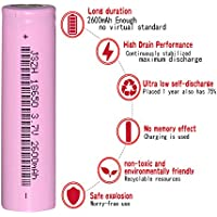 18650 Lithium Rechargeable Batteries 2600mAh 3.7V with USB, 1PCS