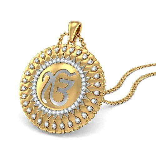 14K Or jaune 0.56CT TW Round-cut-diamond (IJ | SI) Pendentif