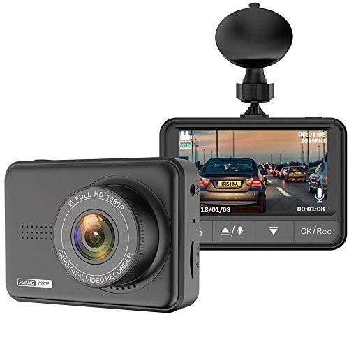 Dash Cam for Cars, 2.45'' LCD Full HD 1080P Car Dashboard Camera Recorder with 170° Wide Angle, Night Vision, G-sensor, Loop Recording, WDR