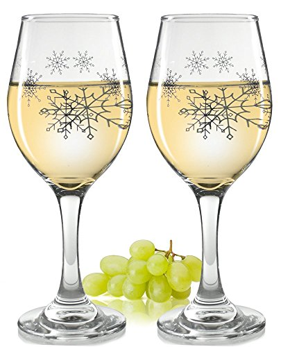 - Holiday Snowflake Wine Glasses - Set of 2 Standard Wine Glasses - Silver Snowflake Design - 14 oz