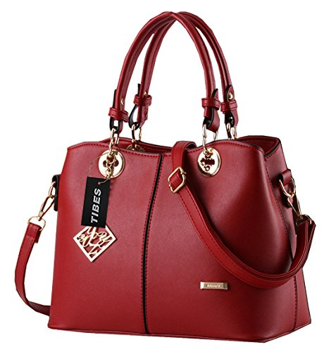 tibes-ladies-pu-leather-handbag-with-shoulder-strap-wine-red