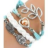 Yoyorule Handmade Adjustable Leaf Owls Pearl Multilayer Bracelet Wristband