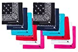 Elephant Brand Bandanas 'Most Popular Colors' 100% Cotton Since 1898-12 Pack