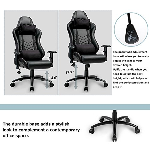 merax executive gaming chair pu leather and fabric racing chair