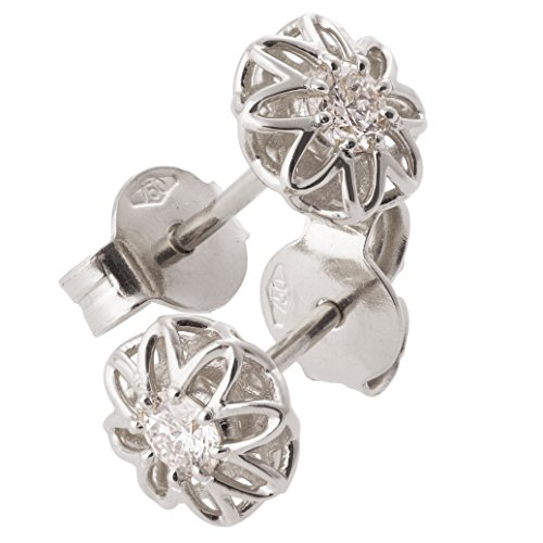 Moissanite Solid Earrings (18K Solid White Gold Unique Celtic Earrings For Women Set With Forever Brilliant Moissanite)