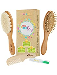 4 Piece Natural Baby Wooden Hair Brush and comb set, Free nail file, Babies Grooming Kit, Soft Goat Bristles for Cradle Cap, Boys & Girls, Toddler & Newborn, Baby Shower Gift & Registry BOBEBE Online Baby Store From New York to Miami and Los Angeles