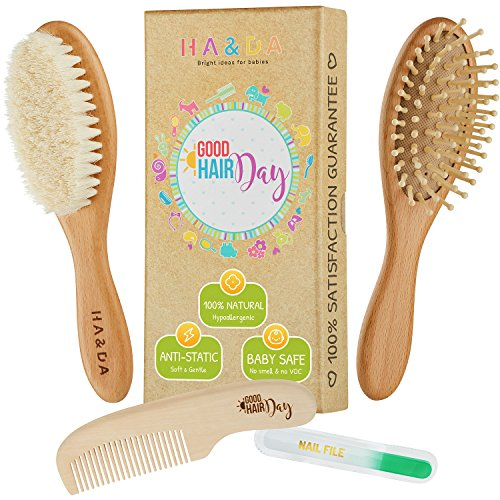4 Piece Natural Baby Wooden Hair Brush and comb set, Free nail file, Babies Grooming Kit, Soft Goat Bristles for Cradle Cap, Boys & Girls, Toddler & Newborn, Baby Shower Gift & Registry from Ha&Da