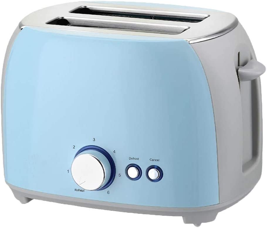 ATRISE Toast Toaster 2-Slice Compact Plastic Extra Wide Slot Stainless Steel Toaster Keep Warm Defrost Slot Toaster (Blue)