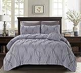 Regal Comfort 4 Piece Diamond Ruffled Comforter Set (Queen / Full, Silver)