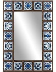 Patton Wall Decor 1807-3737 28x38 Indigo Moroccan Tile Framed Wall Mounted Mirrors, Blue