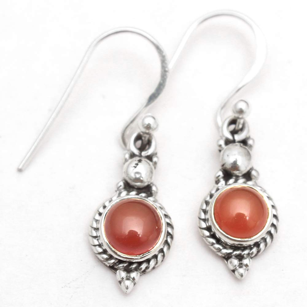 925 Sterling Silver Fashion CARNELIAN Stone AUTHENTIC Earrings Women Jewelry