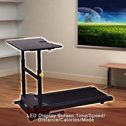 Compact Treadmill Desk Electric Walking Machine With Adjustable Height Table Workstation For Home Office And Gym Steel Holds Laptop Computer Monitor Working Desk Sturdy Workout Equipment